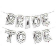 בלונים BRIDE TO BE לניפוח באוויר-כסף