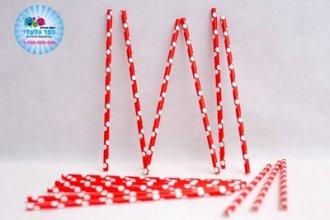 חבילת קשים אדום לבן נקודות 25 יח'