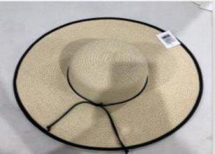 כובע קש רחב שוליים פס שחור