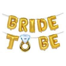 סט בלונים BRIDE TO BE דגם טבעת צבע זהב