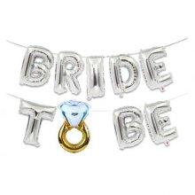 סט בלונים BRIDE TO BE דגם טבעת צבע כסף