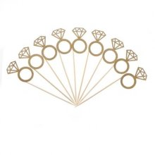 12 יח' קיסמים בצורת טבעת נצנצים- זהב
