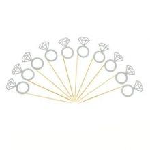 12 יח' קיסמים בצורת טבעת נצנצים- כסף
