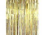 וילון פרנזים לדלת צבע זהב