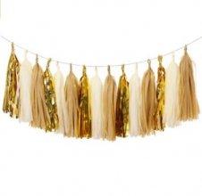 שרשרת פונפונים זהב חום שמנת DIY