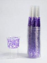 50 כוסות מעוטרות סגול