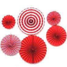מארז 6 מניפות בגדלים שונים- אדום