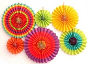 מארז 6 מניפות צבעוניות בסגנון מקסיקני בגדלים שונים